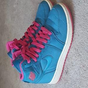 Girls Air Jordan 1 HI Strap Vintage Phat Retro Blue and Pink.